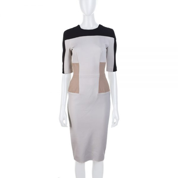 Beige Black Full Zipped Structured Dress by Victoria Beckham- Le Dressing Monaco