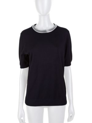 Black Jersey Metal Collar Border Top by Louis Vuitton - Le Dressing Monaco