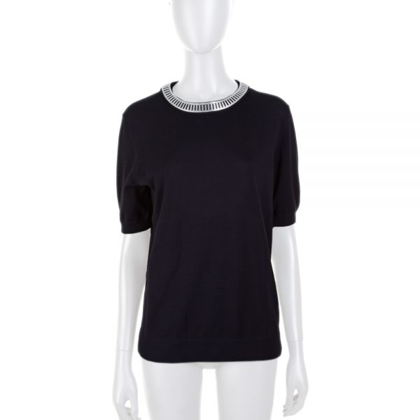 Black Jersey Metal Collar Border Top by Louis Vuitton - Le Dressing Monaco