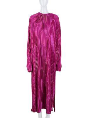 Fuschia Lamé Pleated Long Dress by Givenchy - Le Dressing Monaco