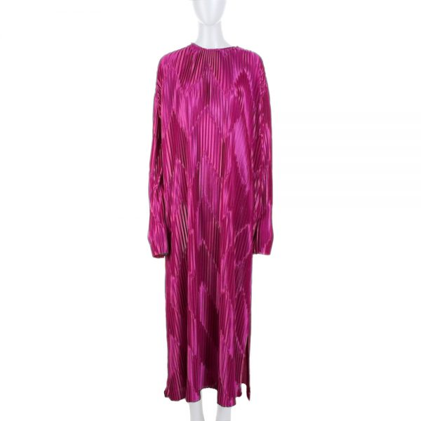 Fuschia Lamé Pleated Long Dress by Givenchy - Le Dressing Monaco
