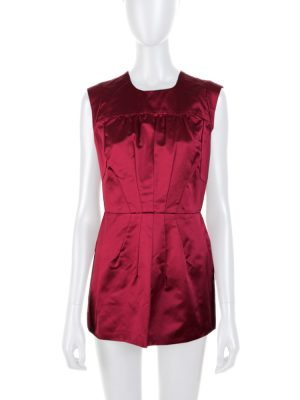 Burgundy Silk Sleeveless Structured Top by Prada - Le Dressing Monaco