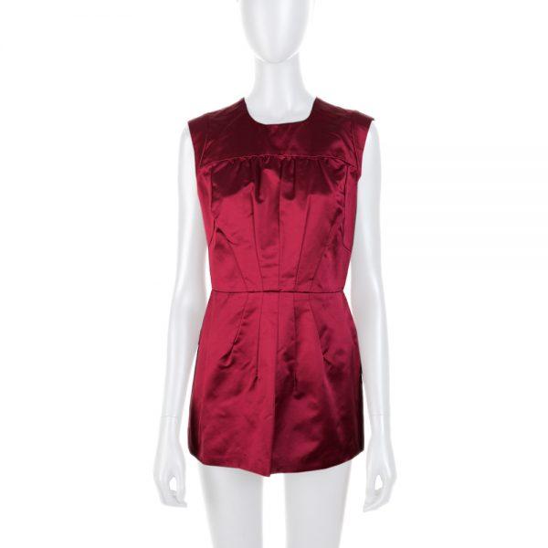 Burgundy Silk Sleeveless Structured Top by Prada - Le Dressing Monaco