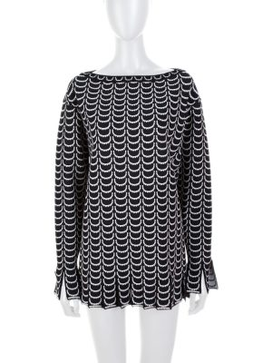 Black White Round Fringed Peplum Top by Alaia - Le Dressing Monaco