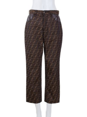 Brown Monogram High Waisted Jeans by Fendi - Le Dressing Monaco