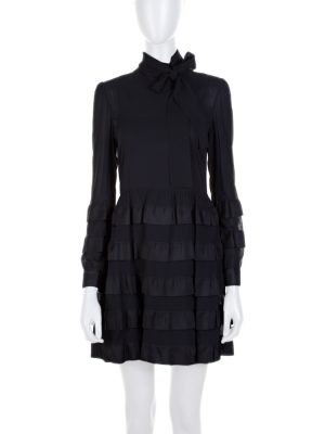 Black Flounced Lavalliere Collar Dress by Red Valentino- Le Dressing Monaco