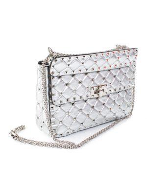 Silver Garavani Rockstude Spike Crossbody Bag by Valentino - Le Dressing Monaco