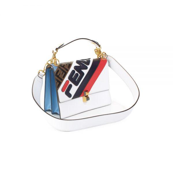 White Blue Red Fila Mania Logo Leather Bag by Fendi - Le Dressing Monaco