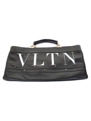 Black White Leather Stud Shopper Bag by Valentino - Le Dressing Monaco