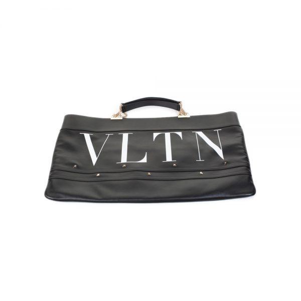 Black White Leather Stud Shopper Bag by Valentino - Le Dressing Monaco