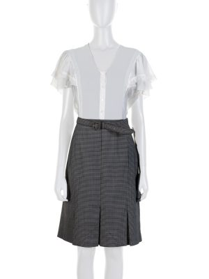Grey Stripped Wool and Ivory Lace Dress by Christian Dior - Le Dressing Monaco