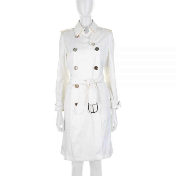 Off White Belted Cotton Trench Coat by Burberry - Le Dressing Monaco