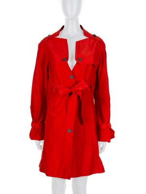 Red Cotton Silk Sleeve Strap Detail Rain Coat by Celine - Le Dressing Monaco
