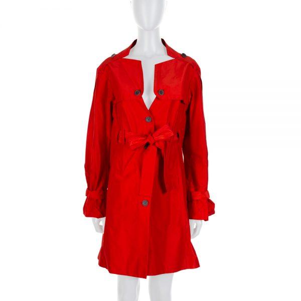 Red Cotton Silk Sleeve Strap Detail Rain Coat by Celine - Le Dressing Monaco
