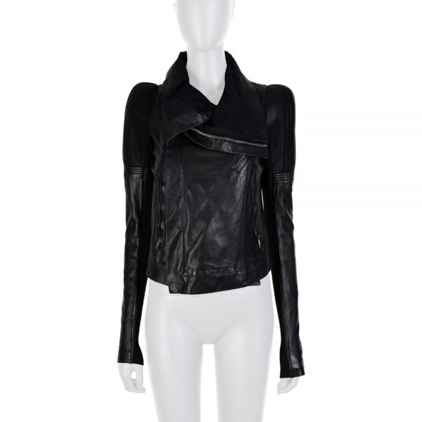 Black Structured Leather Jacket by Rick Owens - Le Dressing Monaco