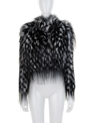 Black White Long Sleeved Fox Fur Jacket by Prada - Le Dressing Monaco