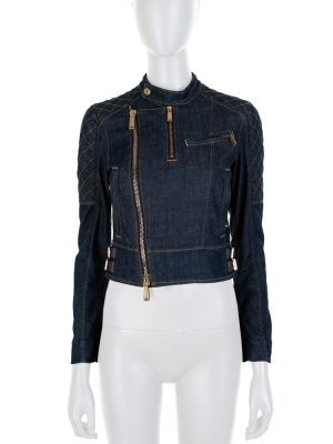 Blue Perfecto Long Sleeved Denim Jacket by Dsquared2 - Le Dressing Monaco
