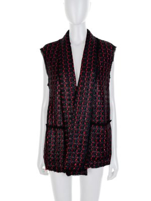 Blue Red Textured Sleeveless Jacket by Sonia Rykiel - Le Dressing Monaco