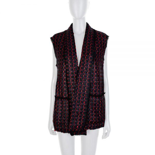Blue Red Textured Sleeveless Jacket by Sonia Rykiel - Le Dressing Monaco