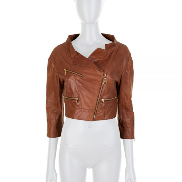 Light Brown Short Leather Perfecto Jacket by Prada - Le Dressing Monaco