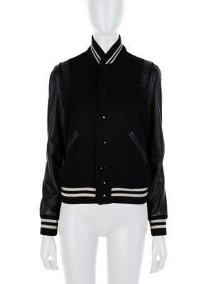 Black White Bomber Leather Jacket by Saint Laurent - Le Dressing Monaco
