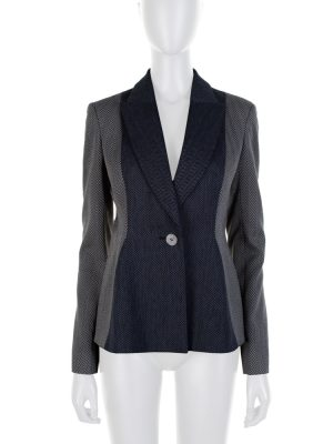 Blue Grey Chevron Long Sleeved Blazer by Christian Dior - Le Dressing Monaco