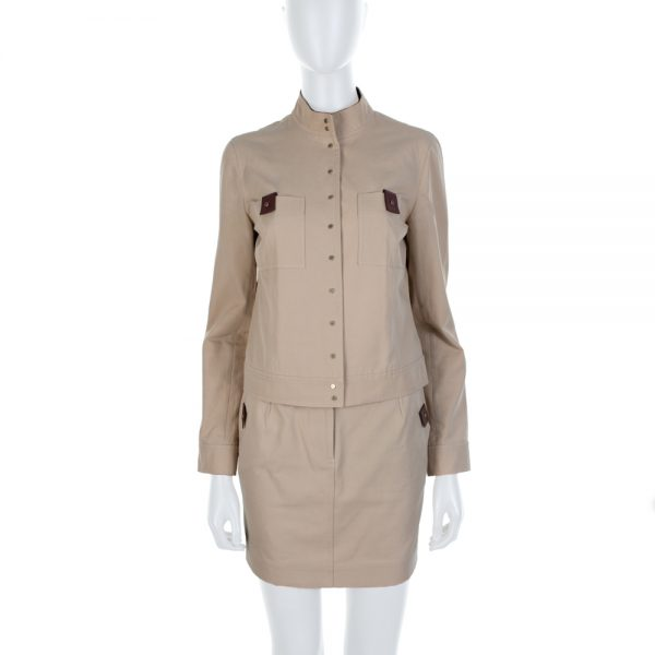 Beige Leather Button Mao Collar Skirt Set by Celine - Le Dressing Monaco