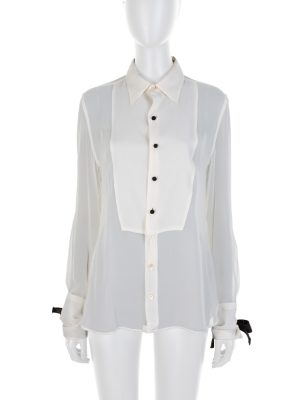 Ivory Black Buttoned Ribbon Long Sleeved Shirt by Tom Ford - Le Dressing Monaco