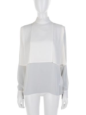 Ivory Apron Collar Silk Blouse by Alexander McQueen - Le Dressing Monaco
