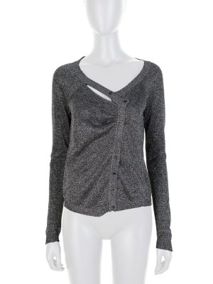 Silver Lurex Asymmetric Cardigan by Christian Dior - Le Dressing Monaco