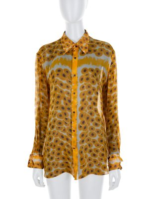 Yellow Flower Printed Silk Shirt by Hermes - Le Dressing Monaco