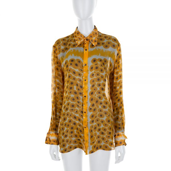 Yellow Flower Printed Silk Shirt by Hermes - Le Dressing Monaco