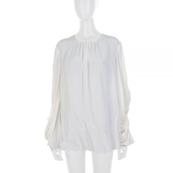 Ivory Opened Sleeved Silk Blouse by Alexander McQueen - Le Dressing Monaco