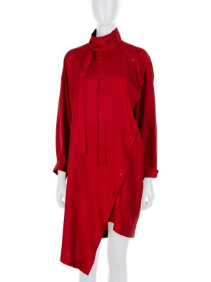 Red Destructured Long Sleeved Silk Dress by Valentino - Le Dressing Monaco