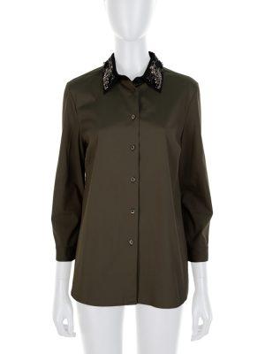 Green Black Crystal Embellished Shirt by Prada - Le Dressing Monaco
