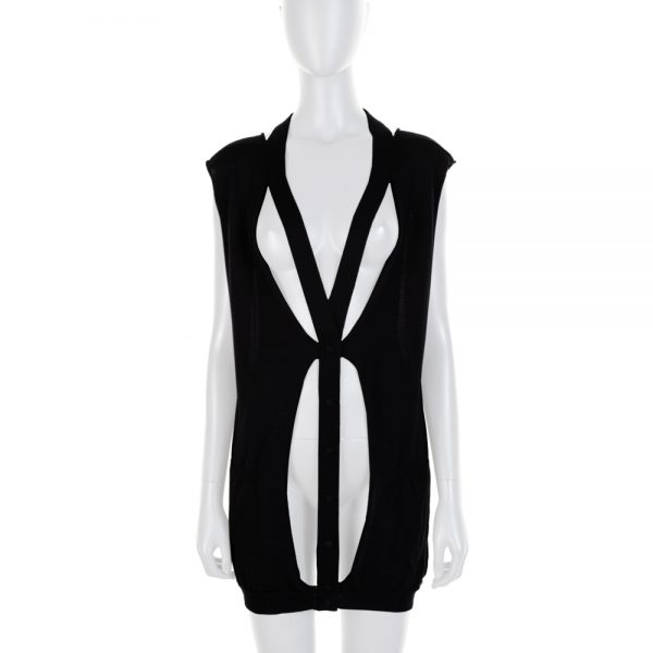 Black Open Worked Cashmere Cardigan by Balenciaga - Le Dressing Monaco