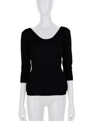 Black 3/4 Sleeved Jersey Top by Valentino - Le Dressing Monaco
