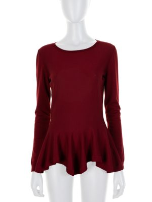 Red Jersey Peplum Top by Alexander McQueen - Le Dressing Monaco