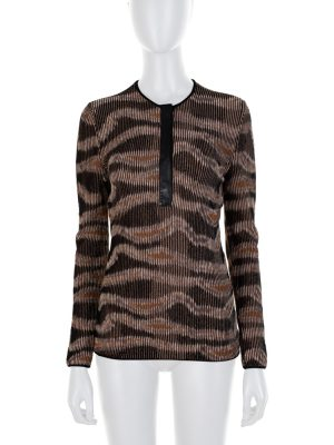 Brown Leather Tunisian Collar Top by Tom Ford - Le Dressing Monaco