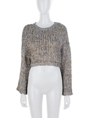 Blue Crop Topped Jumper by Brunello Cucinelli - Le Dressing Monaco