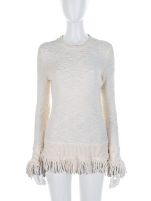 Ivory Wool Fringe Trimmed Pullover by Alexander McQueen - Le Dressing Monaco