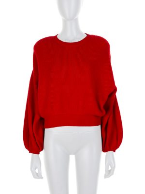 Red Ballon Sleeved Epaulette Pullover by Valentino - Le Dressing Monaco