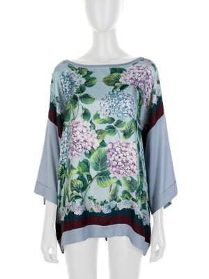 Light Blue Flower Printed Silk Top by Dolce e Gabbana - Le Dressing Monaco
