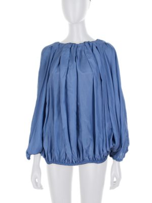 Blue Gathered Silk Habotai Top by Fendi - Le Dressing Monaco