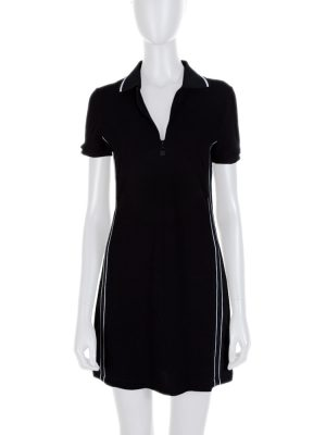 Black Polo Collar Short Sleeved Dress by Chanel - Le Dressing Monaco