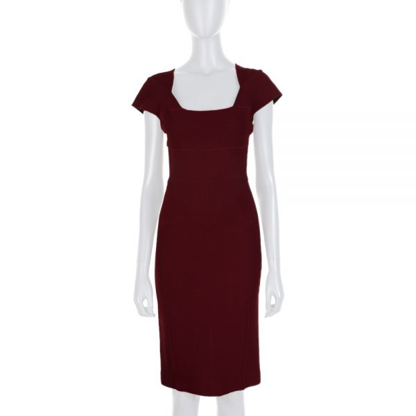 Burgundy Short Sleeved Crayon Dress by Roland Mouret - Le Dressing Monaco