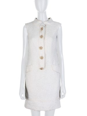 Off White Golden Button Bouclé Dress by Oscar de la Renta - Le Dressing Monaco