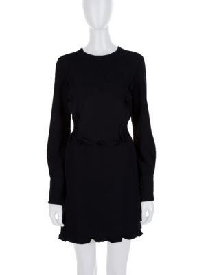 Black Ruffled Crystal Buttons Dress by Miu Miu - Le Dressing Monaco