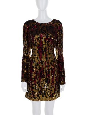 Purple Gold Reversible Sequins Dress by Roberto Cavalli - Le Dressing Monaco