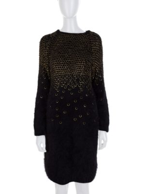 Black Metal Details Angora Dress by Alexander Mc Queen- Le Dressing Monaco